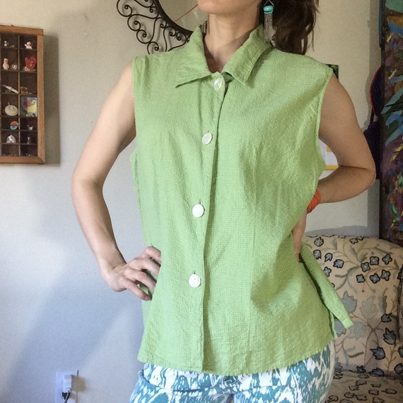 Macy's Tops - Putumayo Cotton Vacation Blouse Vest Shell Buttons